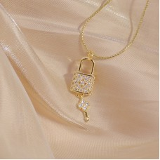 Creative Micro Inlaid CZ Lock And Key Necklace
